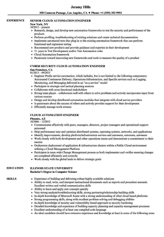 automation resume sample