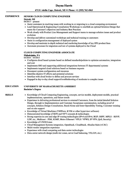cloud engineer resume samples