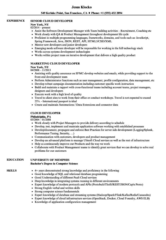 azure cloud administrator resume sample