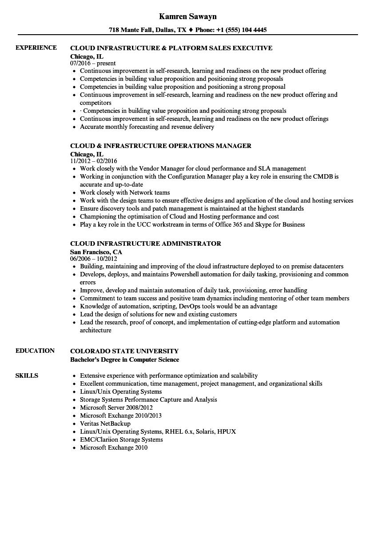 sample resume cloud infrastructure