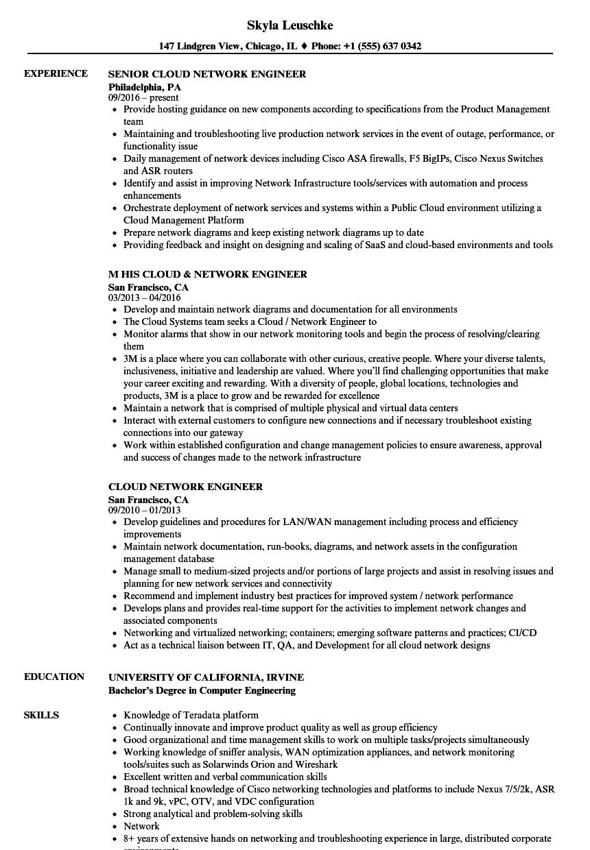 sample resume on sd wan network engineer