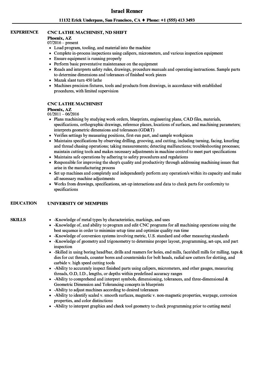 resume sample for cnc machinist