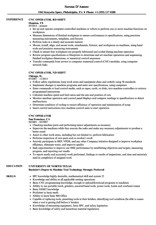 saw operator resume sample