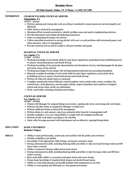 sample resume cocktail server