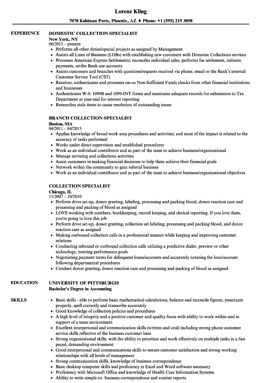 debt collection manager resume sample