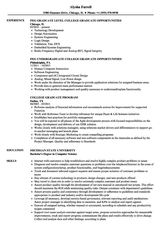 sample recent college graduate resume finance