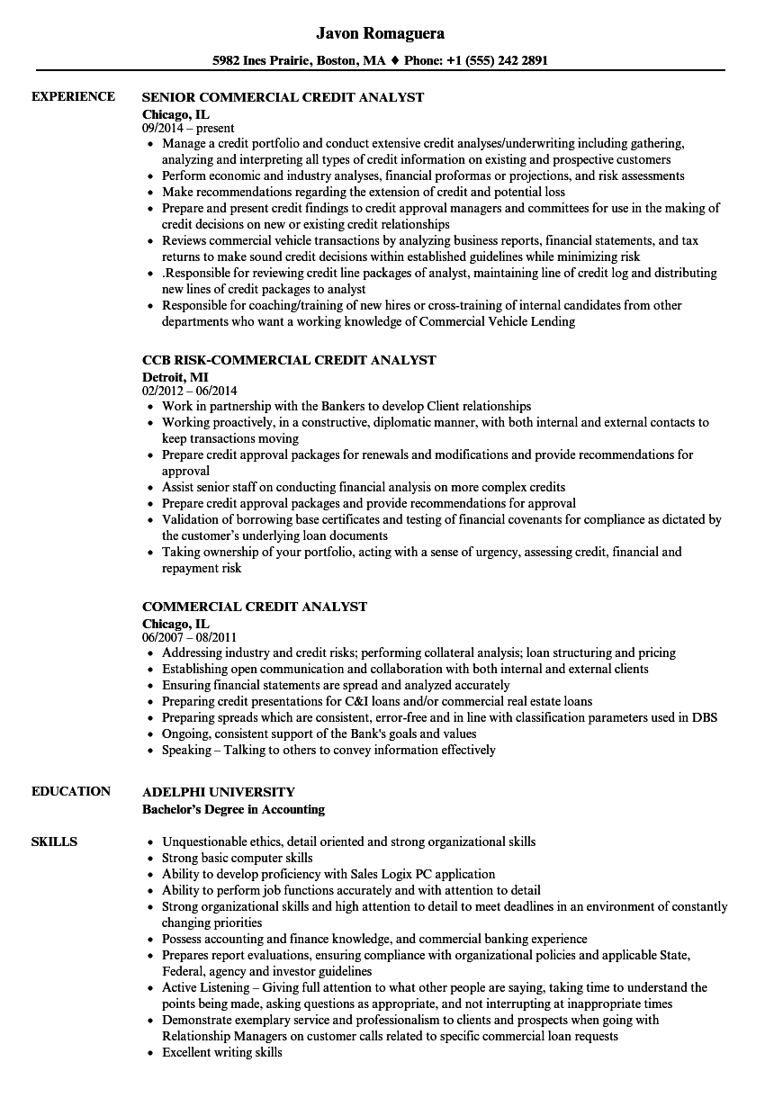 commercial analyst resume sample