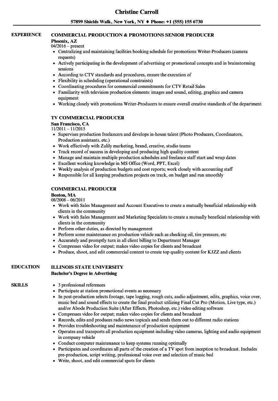 sample tv producer resume