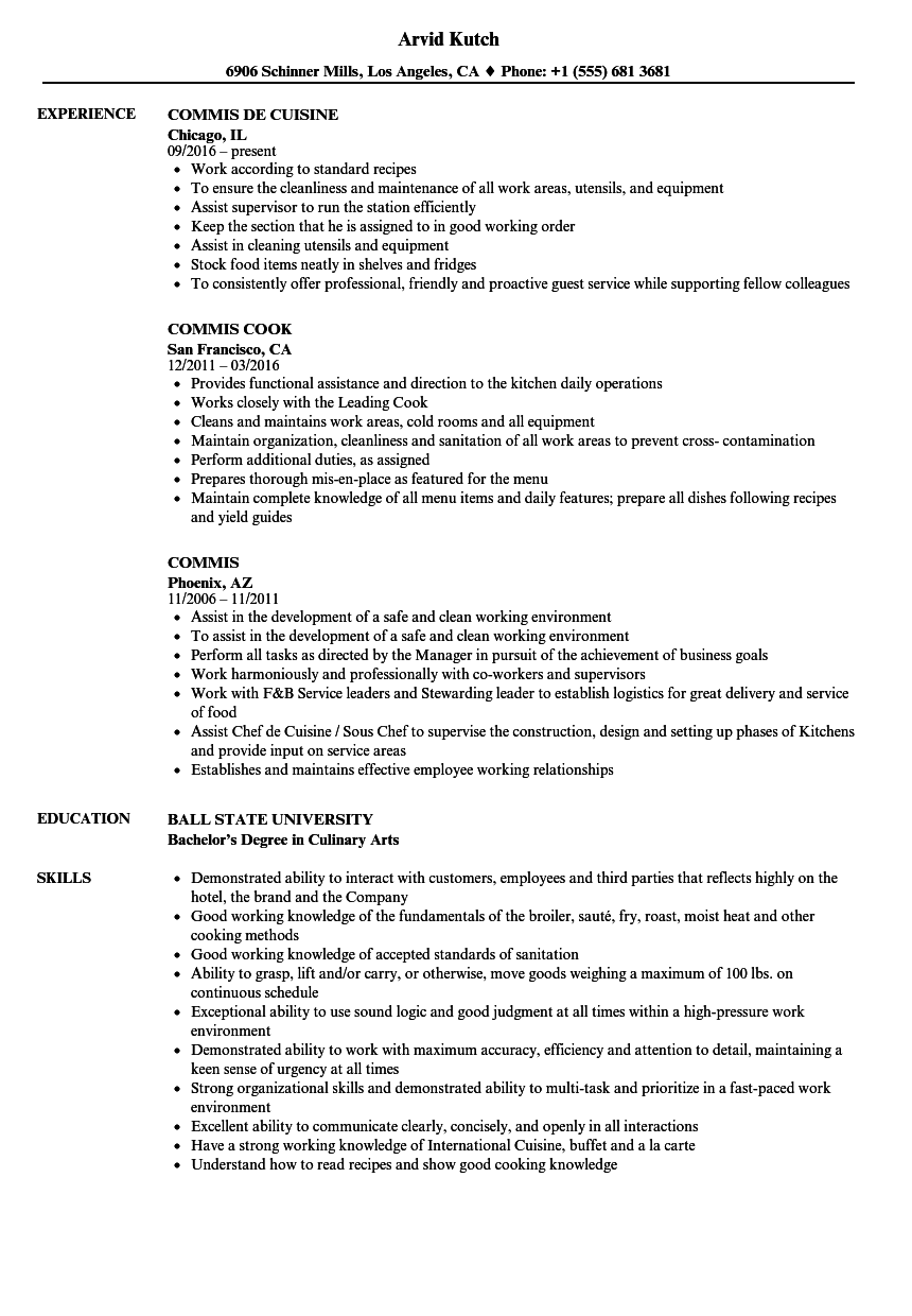 resume sample for commis chef