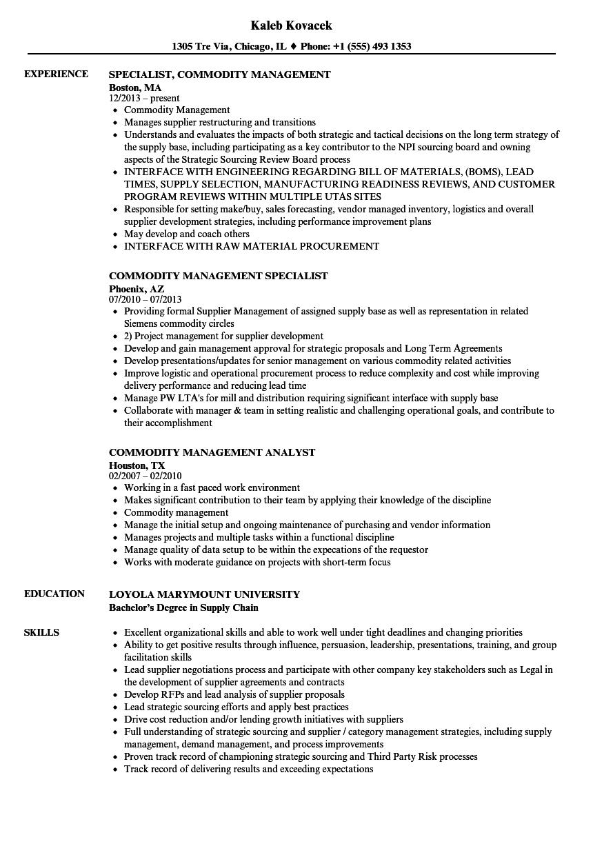 commodity resume sample