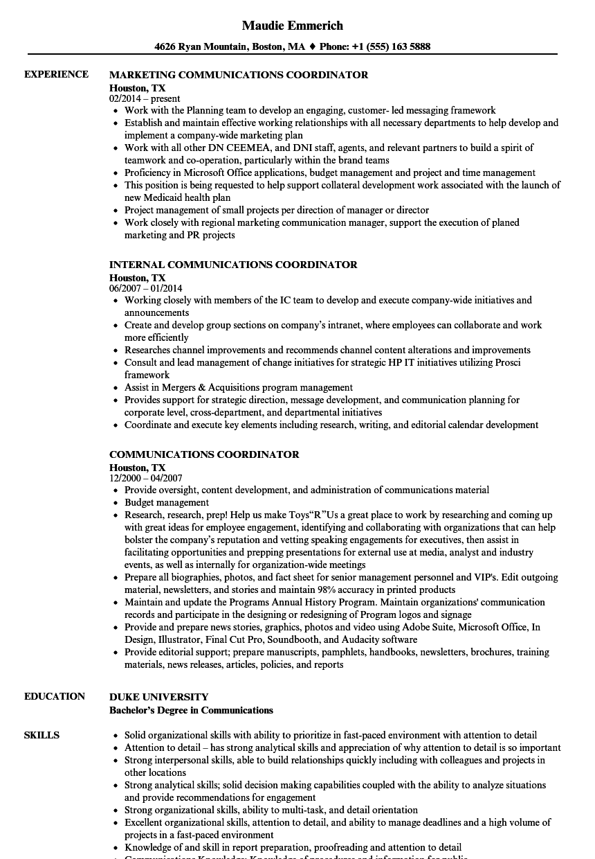 communications coordinator resume sample