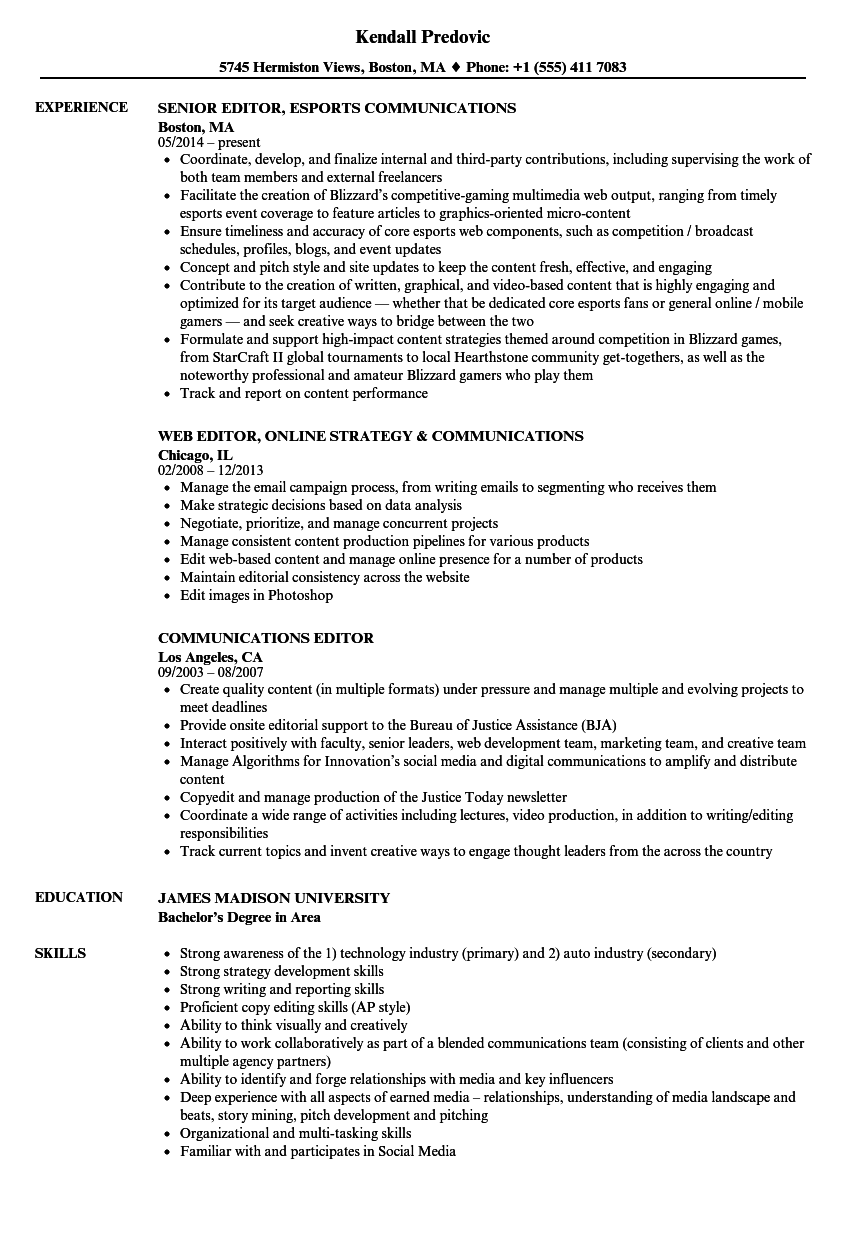 communications consultant resume sample