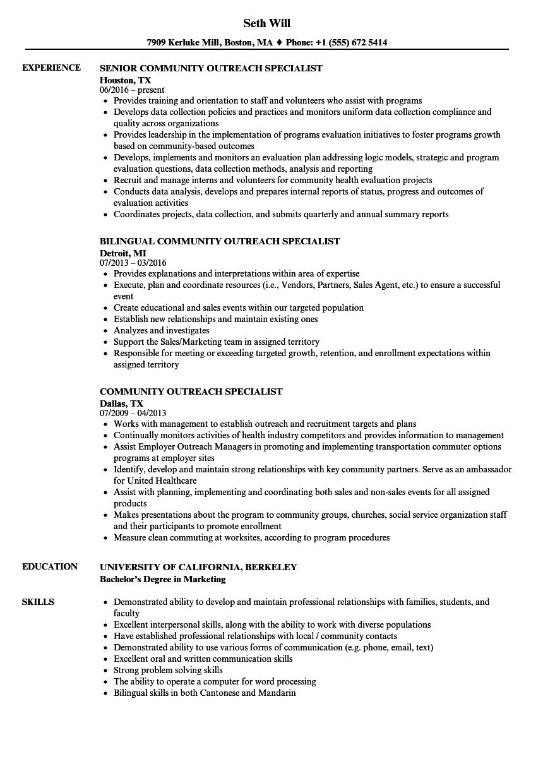 community engagement resume sample