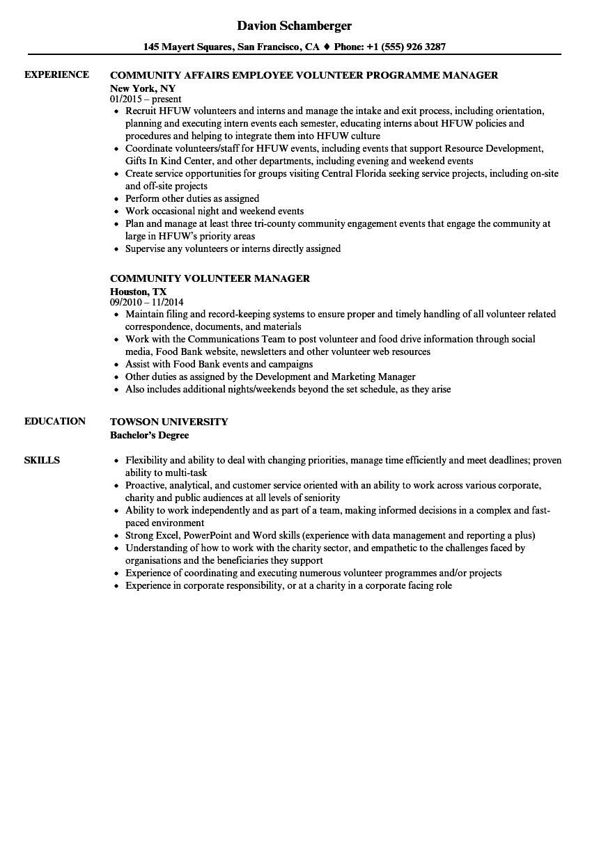 food bank volunteer resume examples