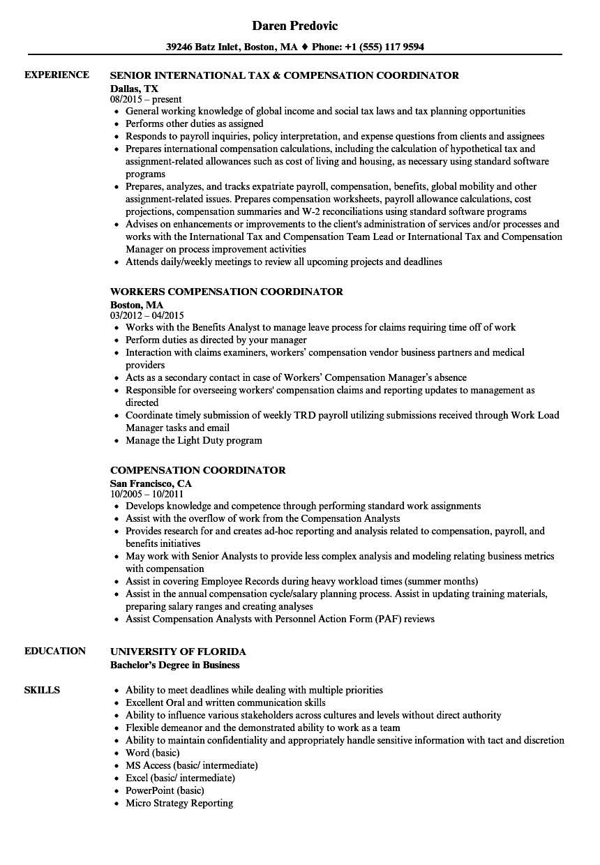 resume sample for compensation analyst