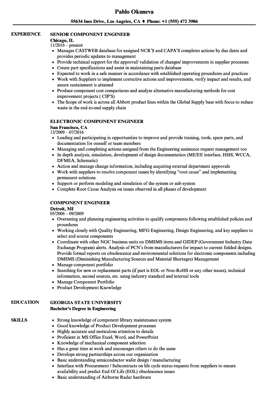 component repair resume example