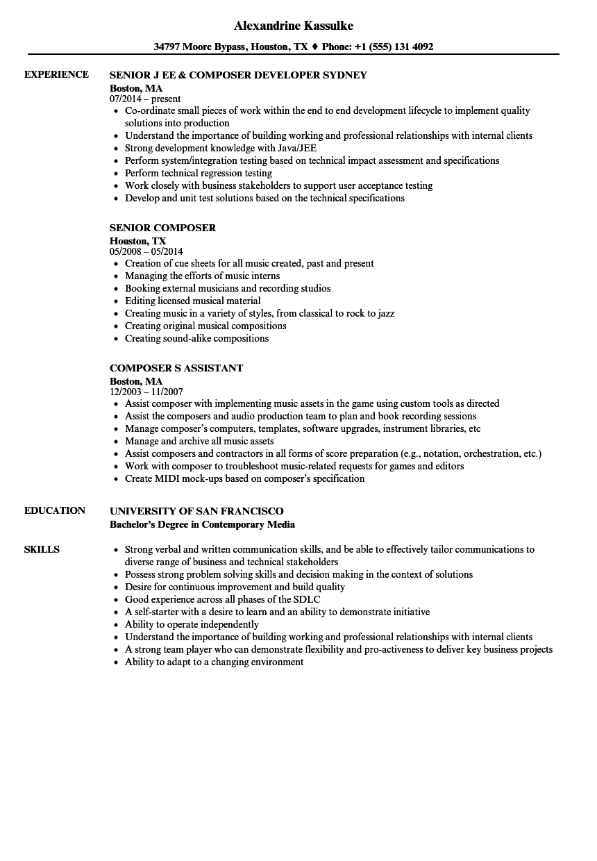 resume music composer