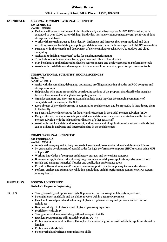 associate scientist resume sample