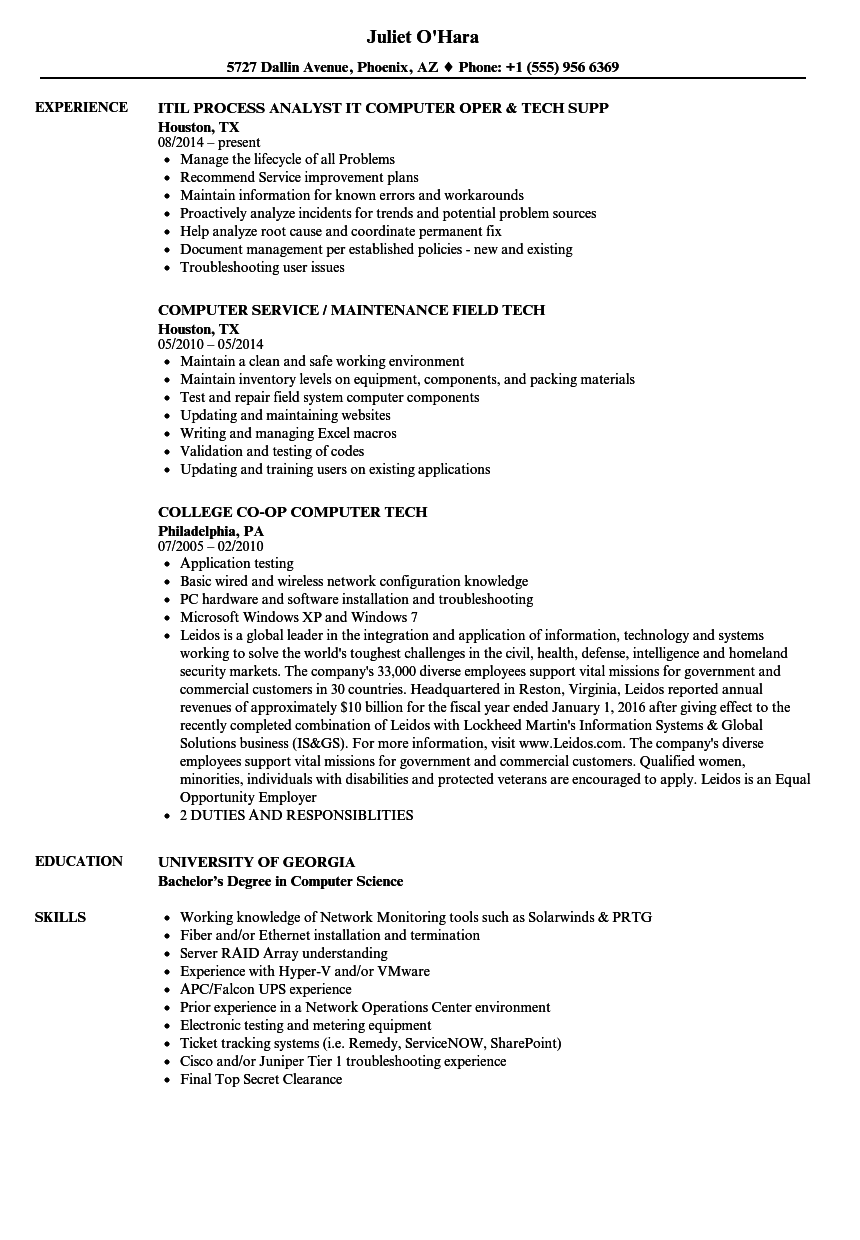 fiber tech resume sample