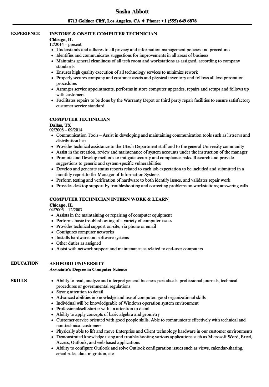 computer repair resumes