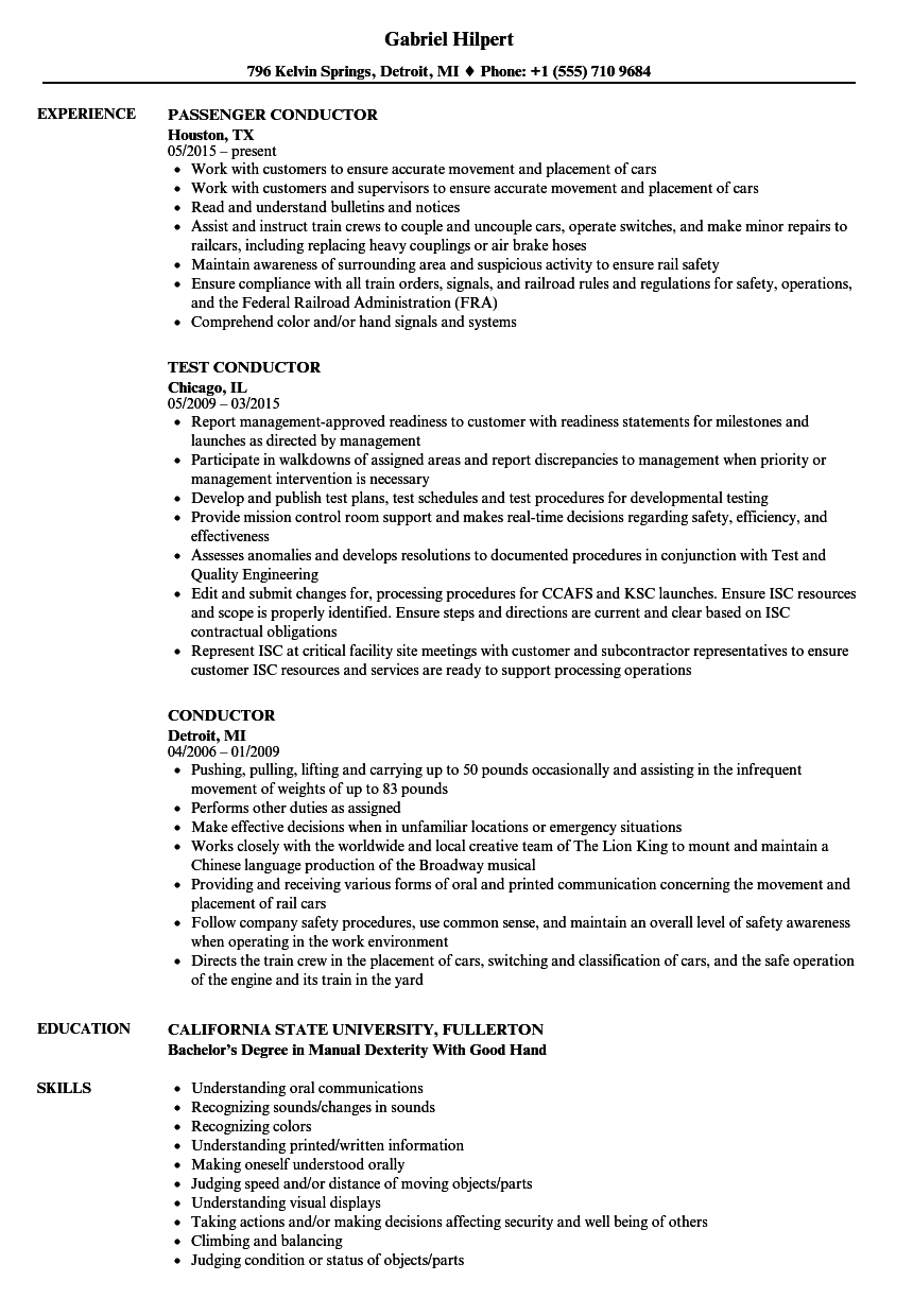 sample resume railroad conductor