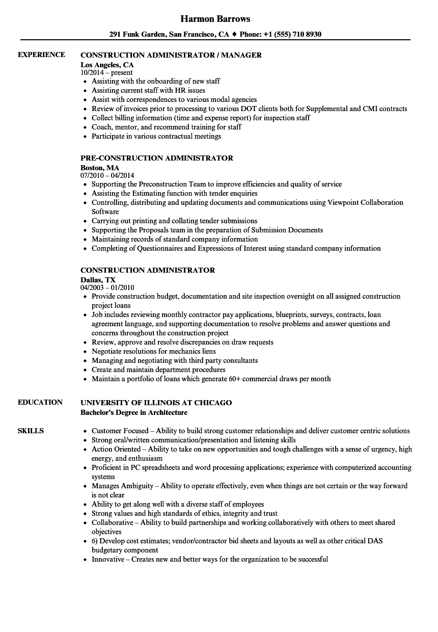 resume examples for construction administrator