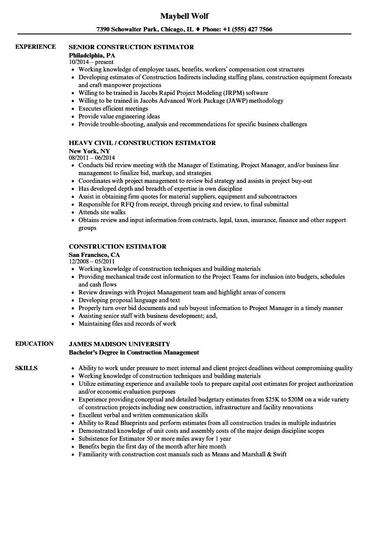 resume job description for estimator