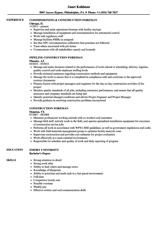 laborer foreman resume example
