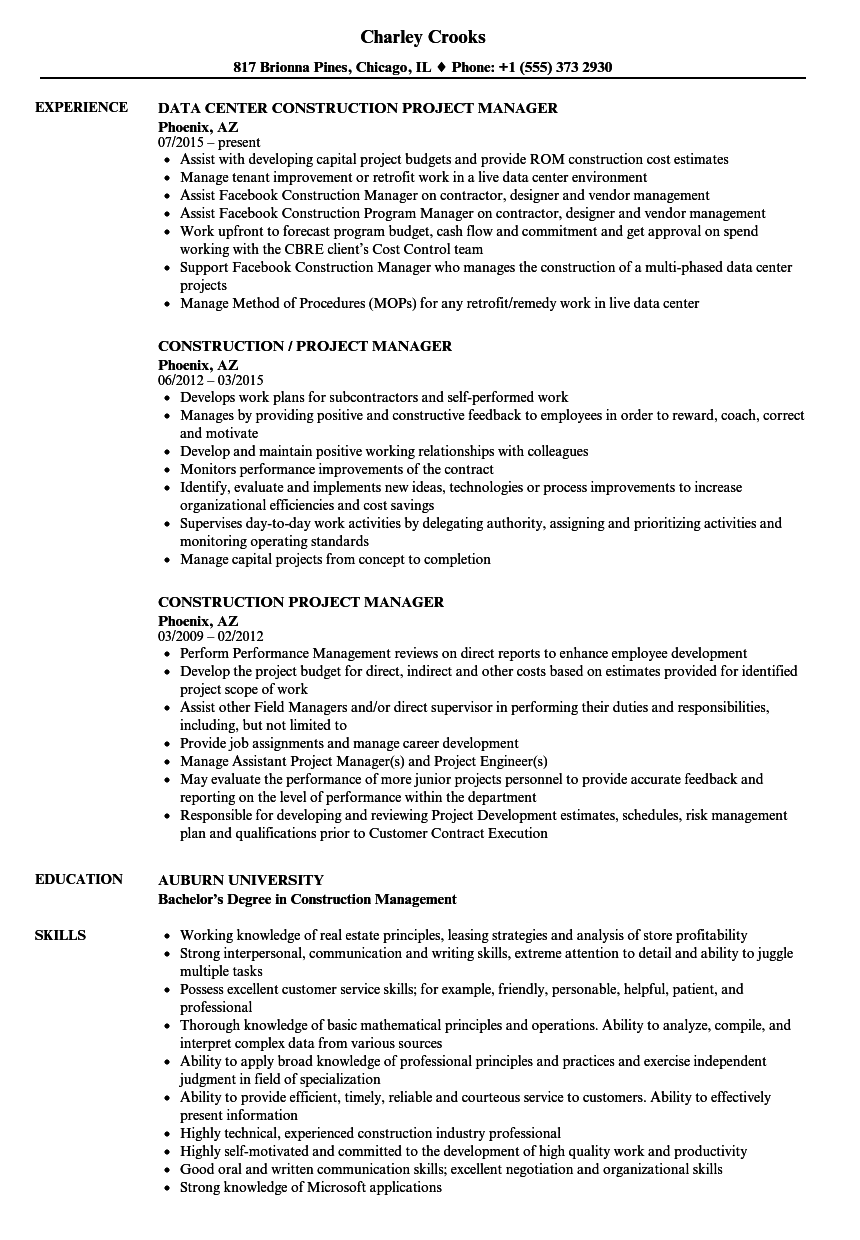 construction project manager resume examples 2018