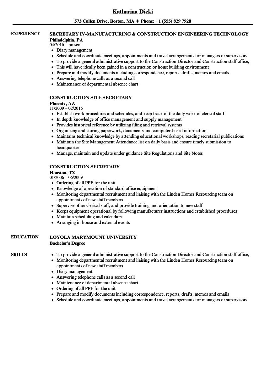 senior secretary resume sample