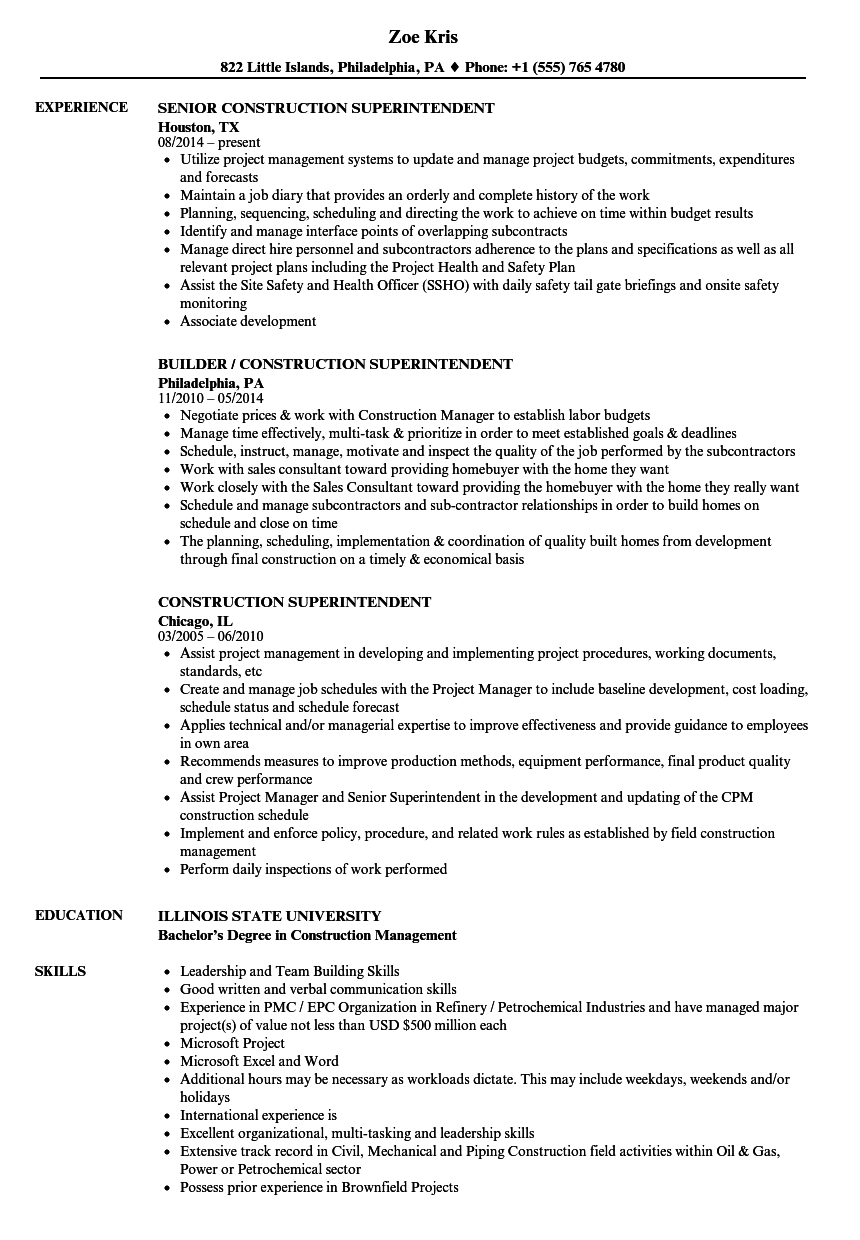 resume examples for construction superintendent