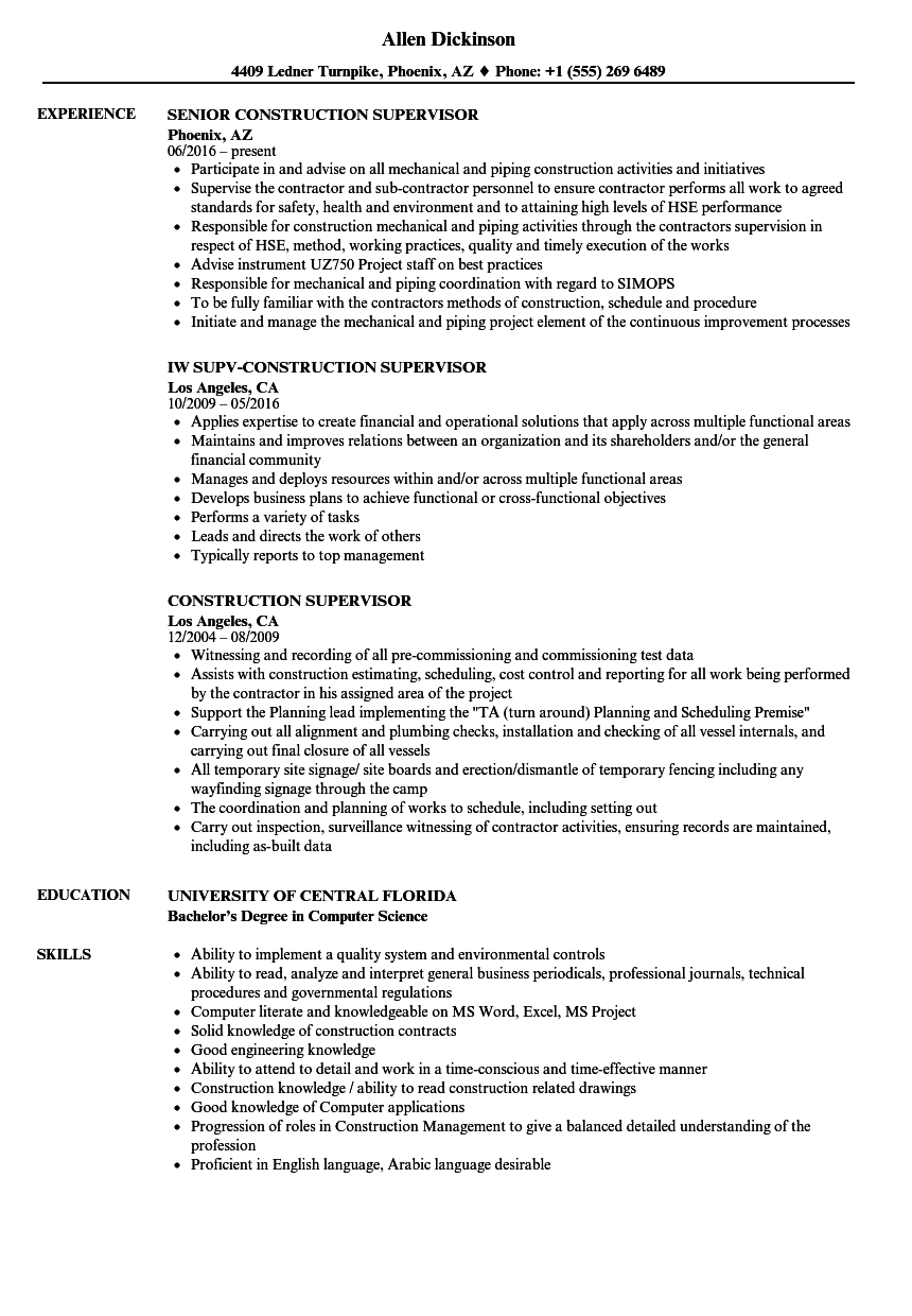 construction foreman resume examples samples