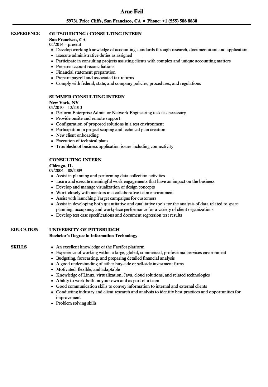 sample resume intern business admin jobs