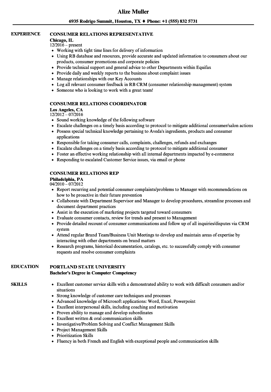 consumer affairs resume sample nyc