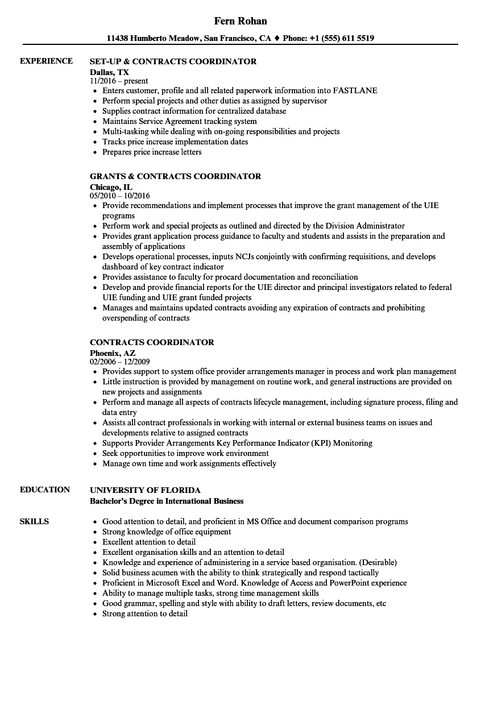 resume sample for school coordinator