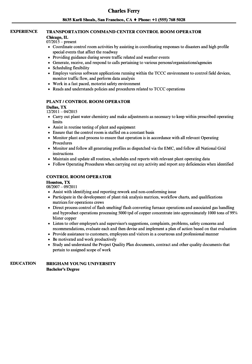 control room operator resume example