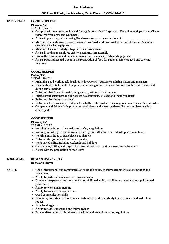 sample resume cook helper
