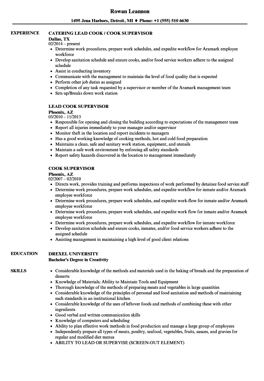 cook supervisor resume example