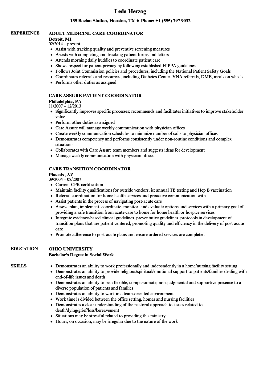 patient care coordinator resume sample