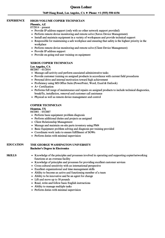 printing technology resume