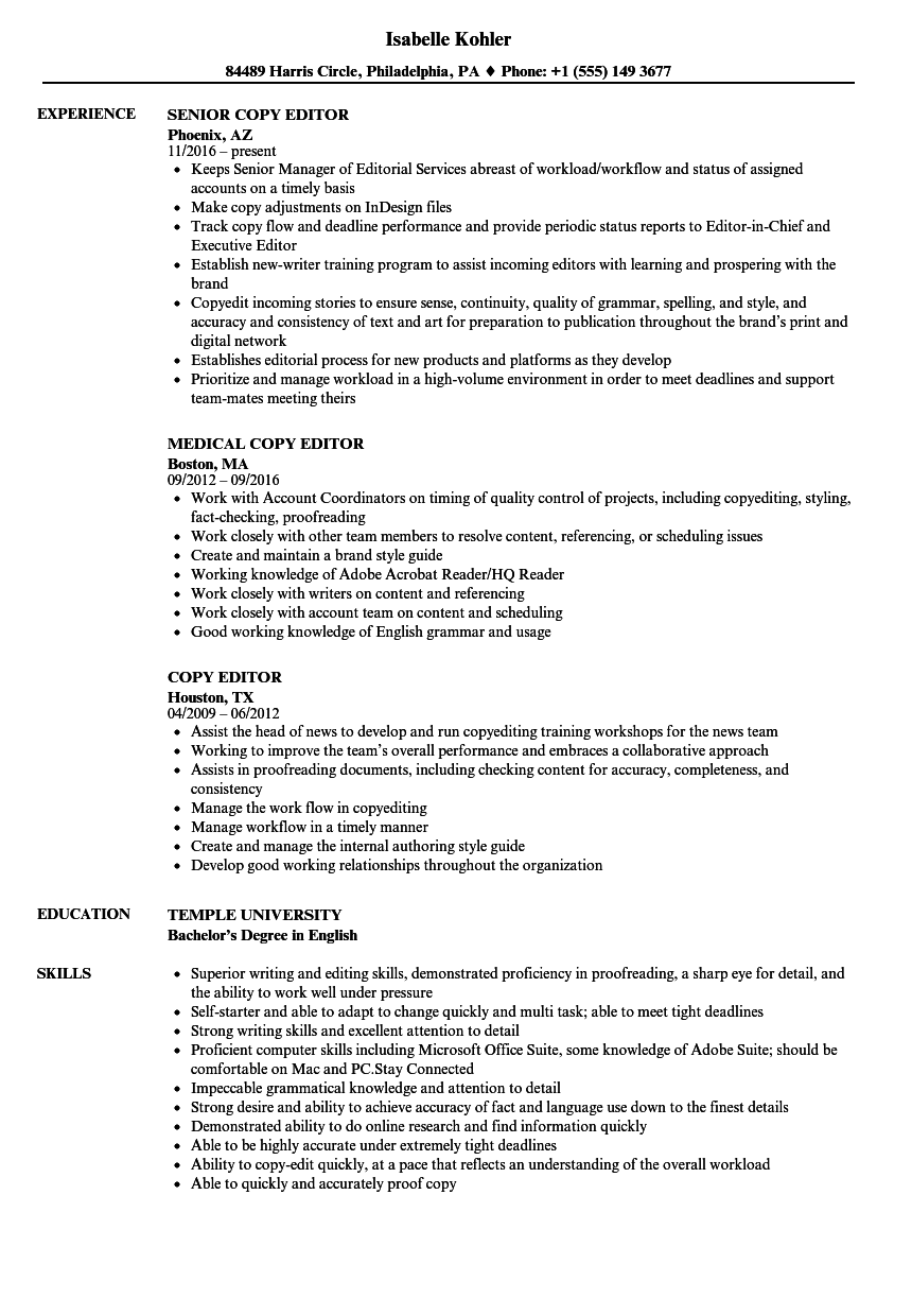 writer and editor resume sample