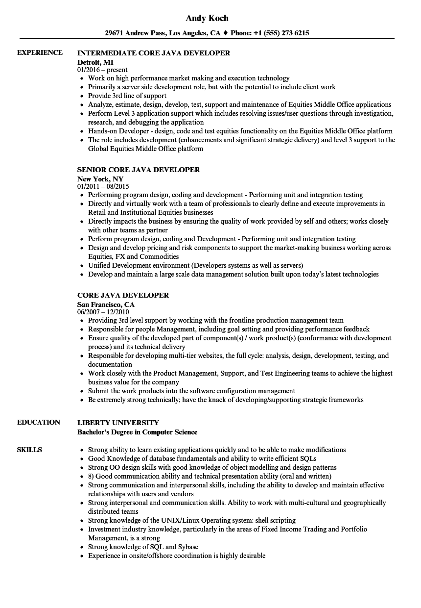 java spring developer resume sample