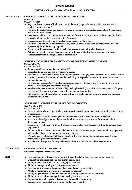 corporate communications sample resume