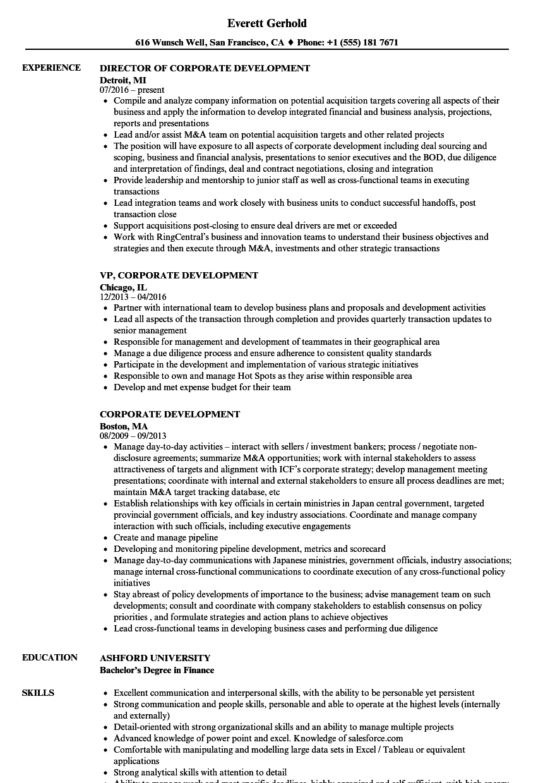 corporate development resume sample