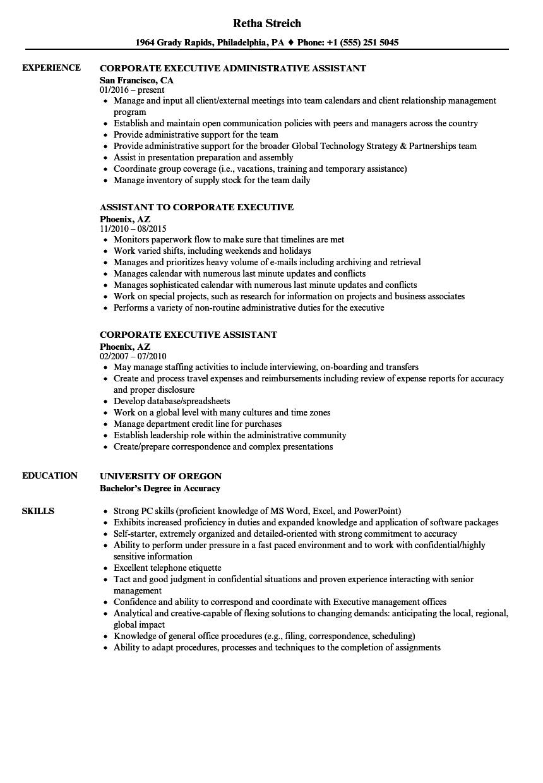 executive asst resume examples