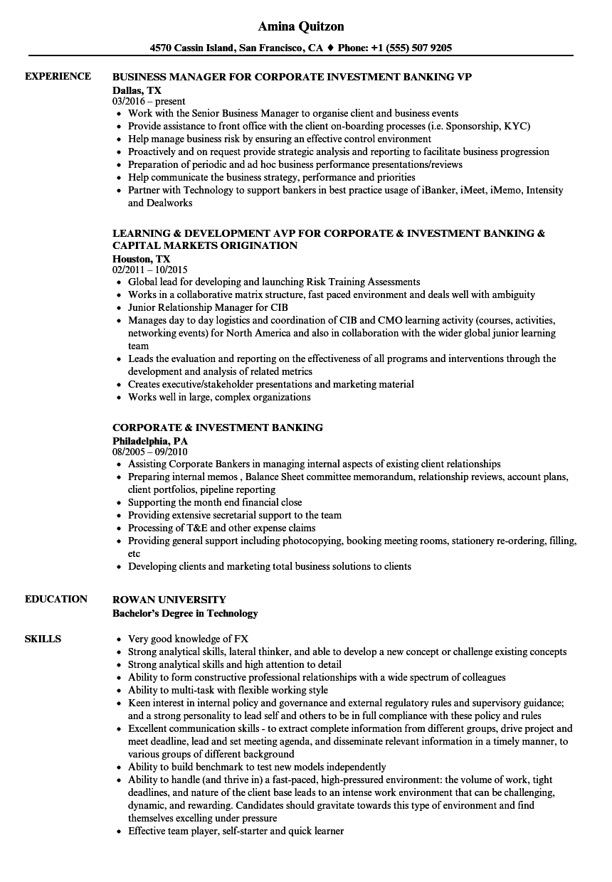invesment banking resume samples