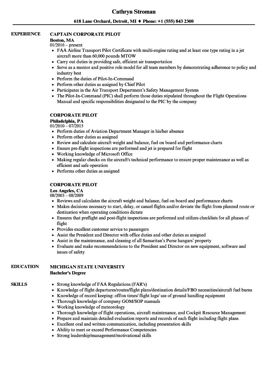 sample corporate pilot resume