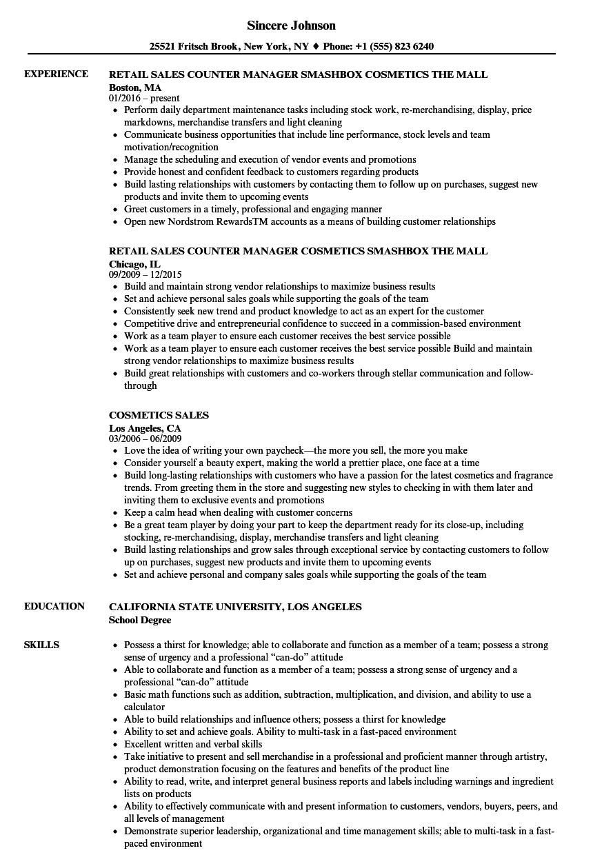 resume sample cosmetic sales