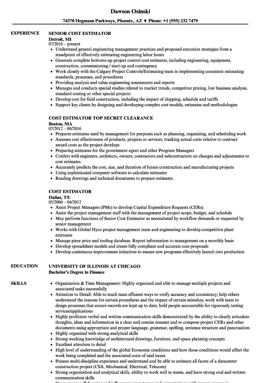 sample resume construction cost estimator