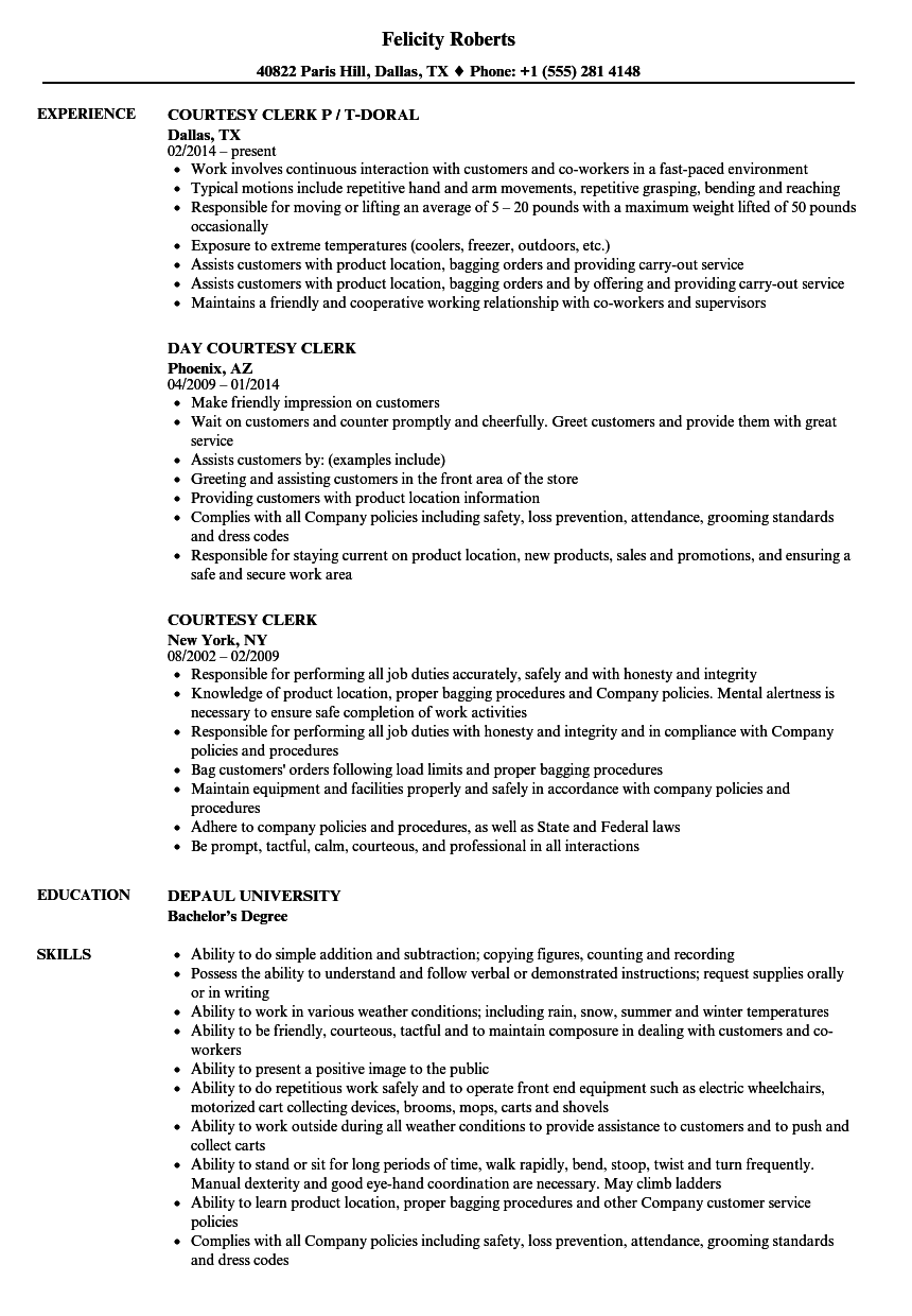 resume objective examples courtesy clerk